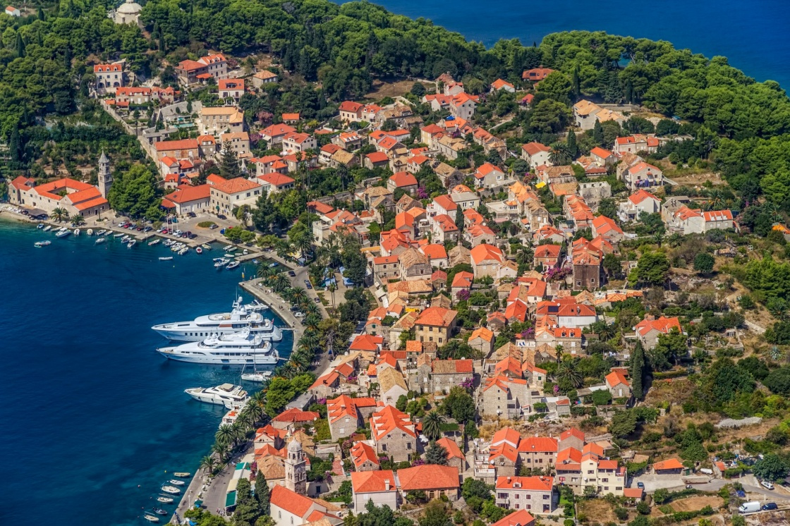 Helicopter aerial shoot of Cavtat. Well known tourist destination near Dubrovnik.
